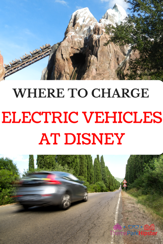 WHERE TO CHARGE ELECTRIC CAR DISNEY. Car with Everest Roller Coaster ride at Animal Kingdom.