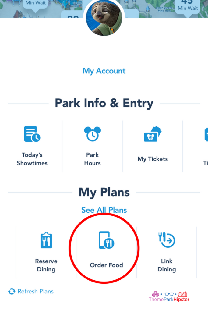 Disney mobile ordering step 2 on Disney app