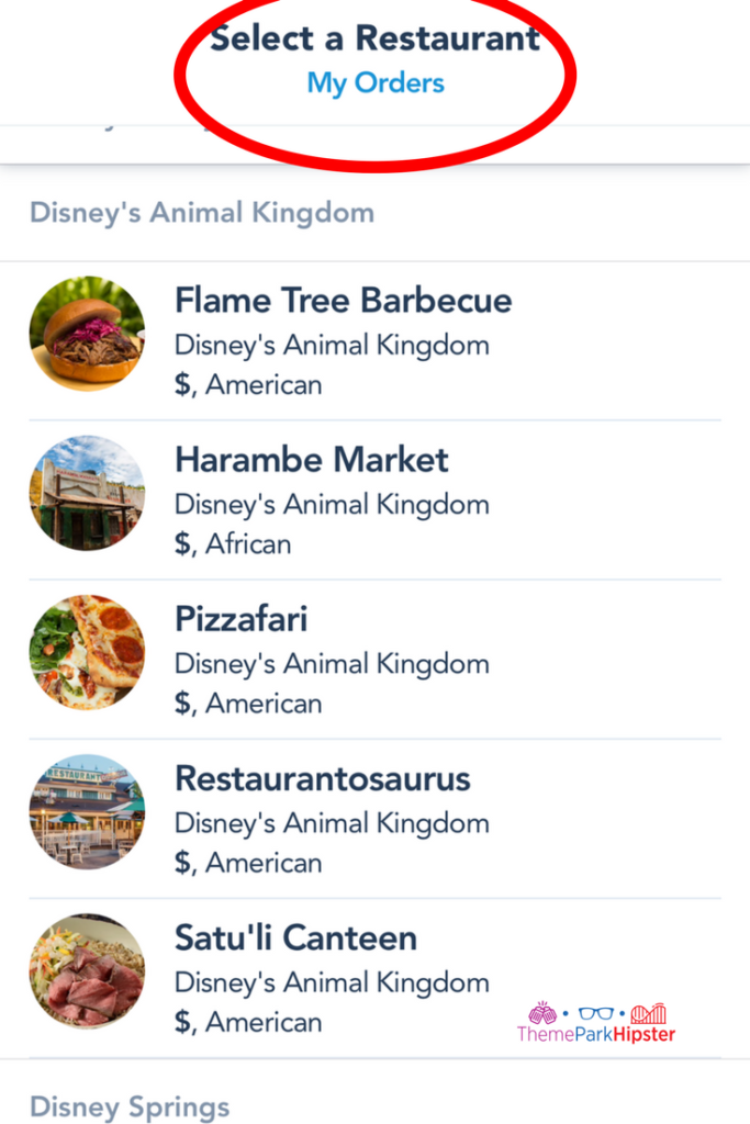 Disney mobile ordering step of selecting a restaurant.