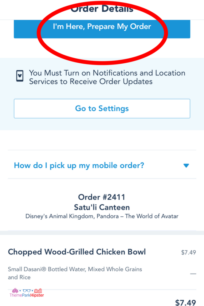 Disney mobile ordering final step on the app is to review your order.