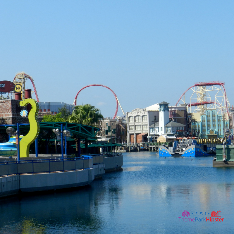universal studios lagoon overlooking red hollywood rip ride rock it roller coaster.