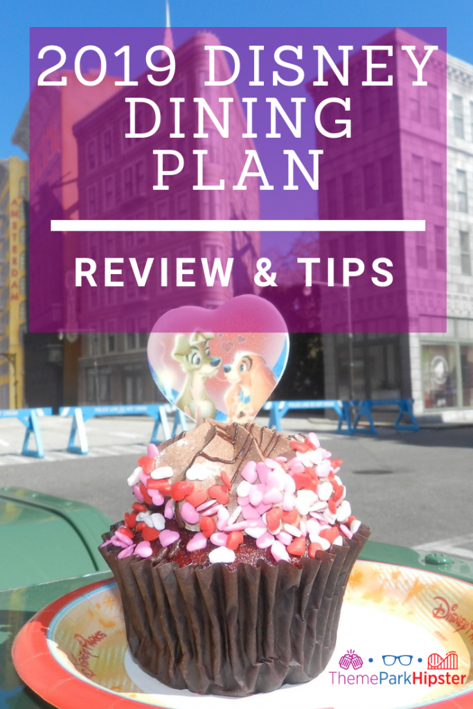 2019 Disney Dining Plan with red and white cupcake of Lady and the Tramp