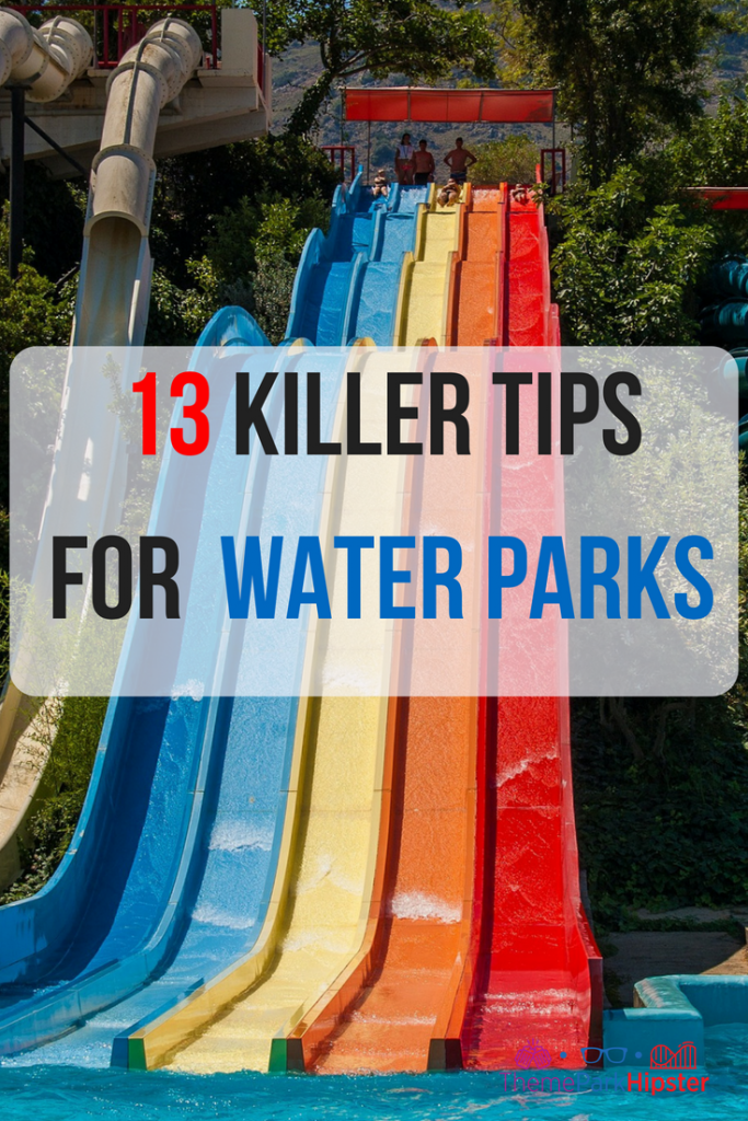 First timer water park tips. Blue, yellow, orange, and red water slide racer.