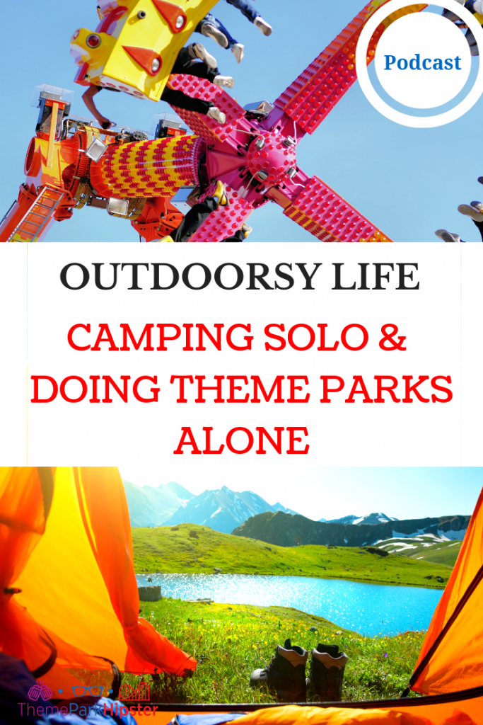 Camping solo and going to theme parks alone with Outdoorsy Diva. Colorful amusement park ride.