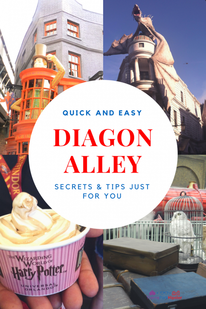 diagon alley secrets and tips with dragon, ice-cream, and harry potter owl