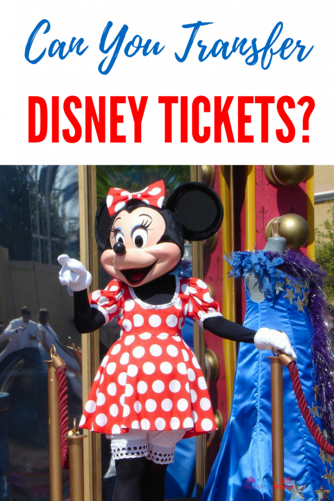 Can you transfer Disney Tickets? Minnie Mouse waving at Disney World.