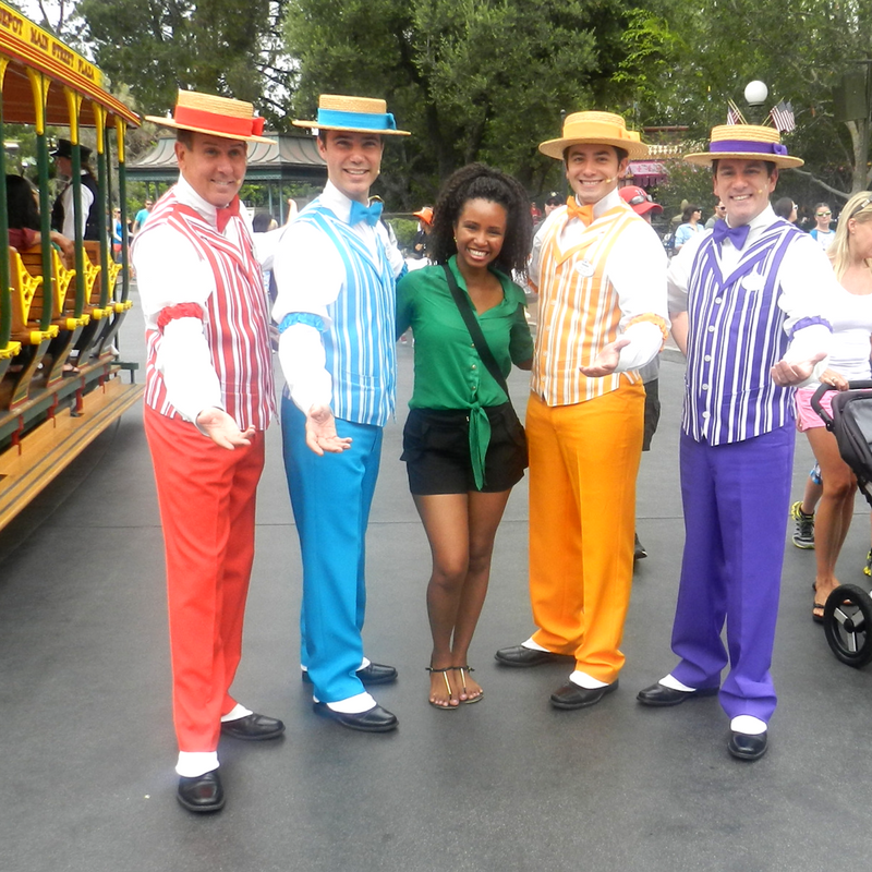 Disneyland Solo with Dapper Dans in red, blue, yellow and purple along with NikkyJ