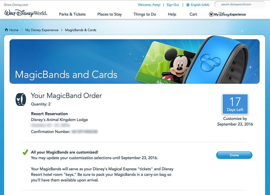 Disney MagicBand 2 Confirmation Order Screen.