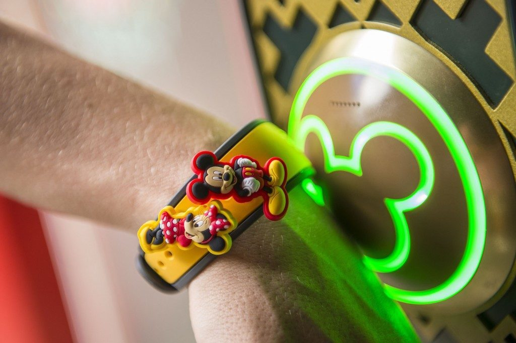 A MagicBand 2 decorated with MagicBandits.