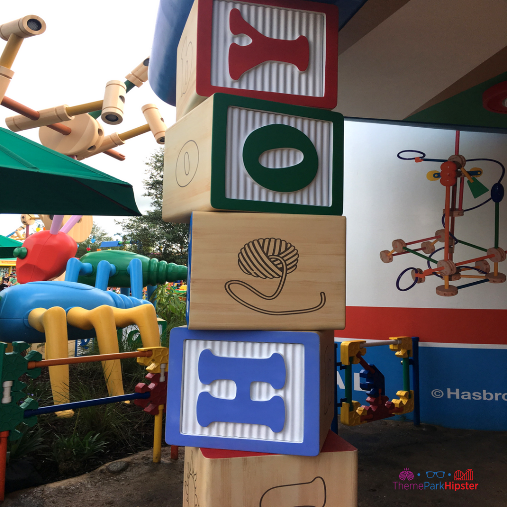 Toy Story Land Colorful Toy Blocks near restroom.