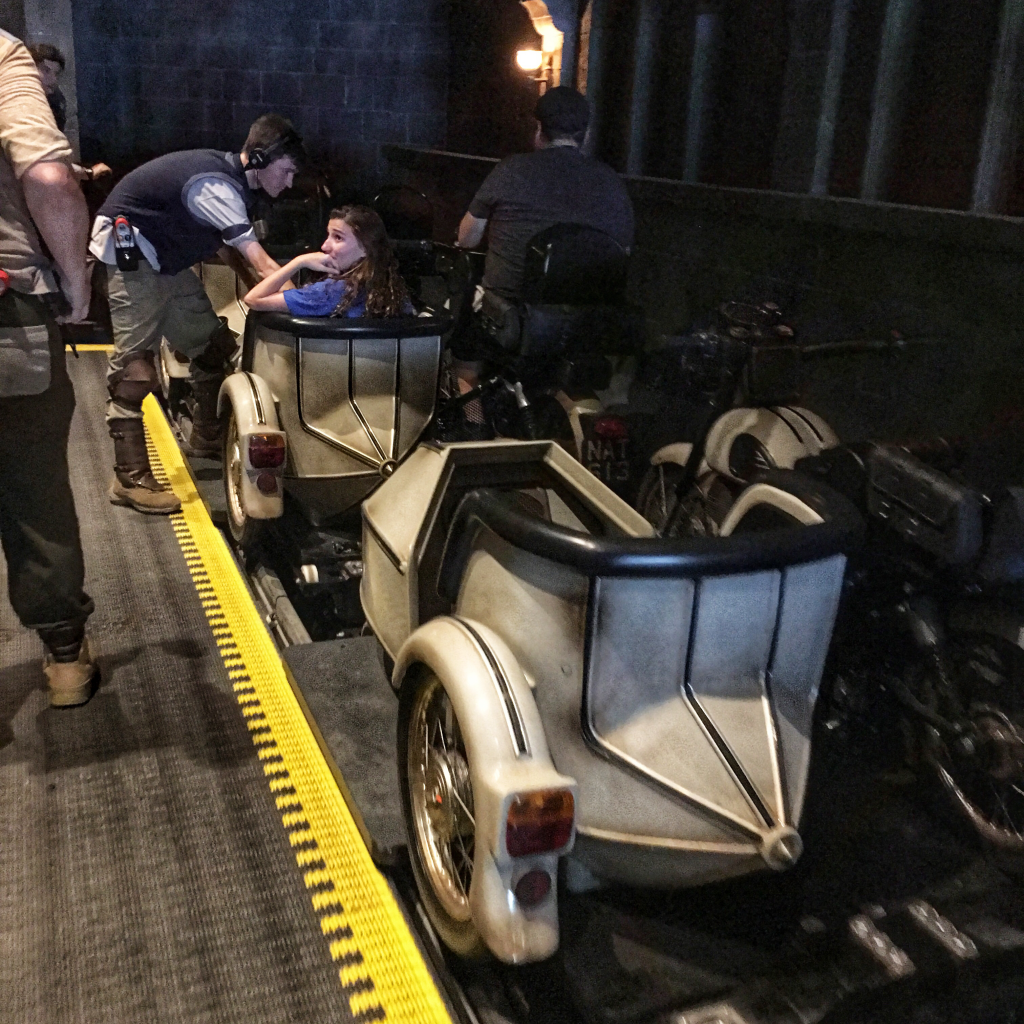 Hagrid roller coaster loading zone. Wizarding World of Harry Potter. Sirius motorbike.