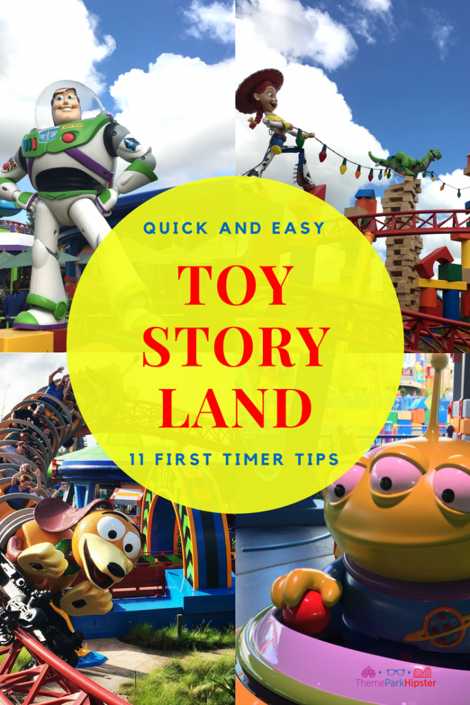 Toy Story Land Tips with Jessie and Buzz Lightyear on top of their rides.