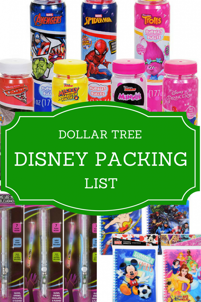 Blue and pink Disney autograph books, bubbles, and glow sticks to buy for your next Walt Disney World vacation from Dollar Tree.