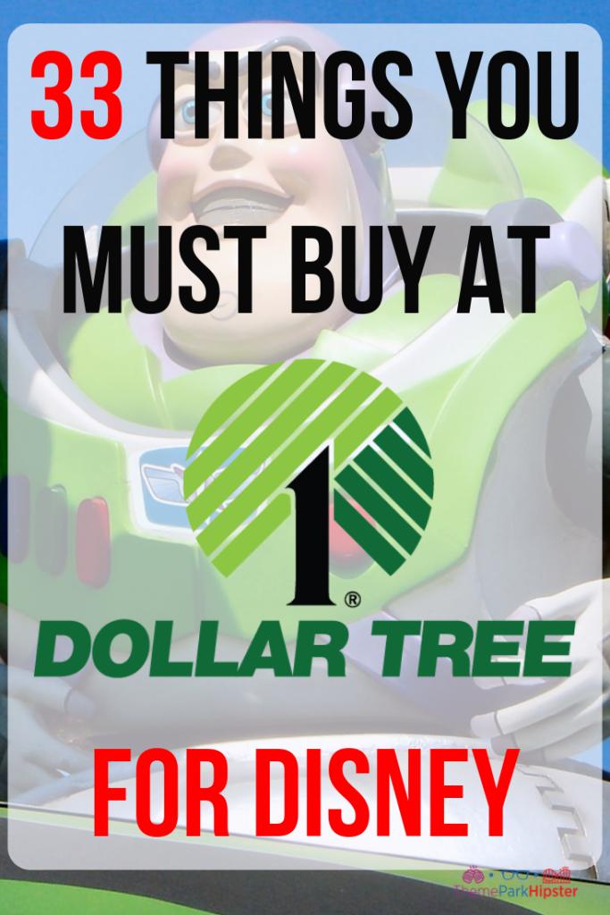 Dollar Tree Disney Shopping List with Buzz Lightyear in the background. #disneyplanning #disneytips