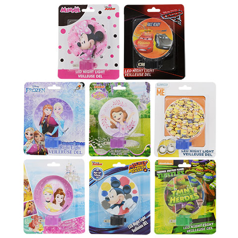 LED Disney night lights with Minnie Mouse, Elsa, and Mickey Mouse you could buy for your next Walt Disney World vacation from Dollar Tree.