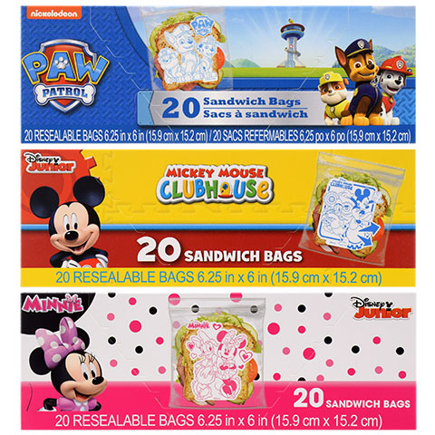 Pink and black Minnie Mouse sandwich bags you could buy for your next Walt Disney World vacation from Dollar Tree.