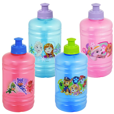 Blue and pink Frozen and Disney character water bottles you could buy for your next Walt Disney World vacation from Dollar Tree.
