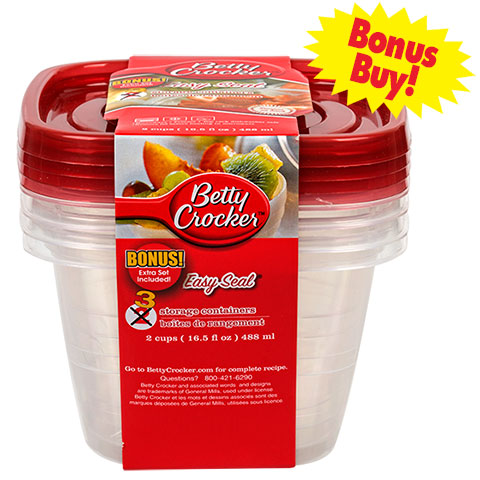Red Betty Crocker container you could buy for your next Walt Disney World vacation from Dollar Tree.