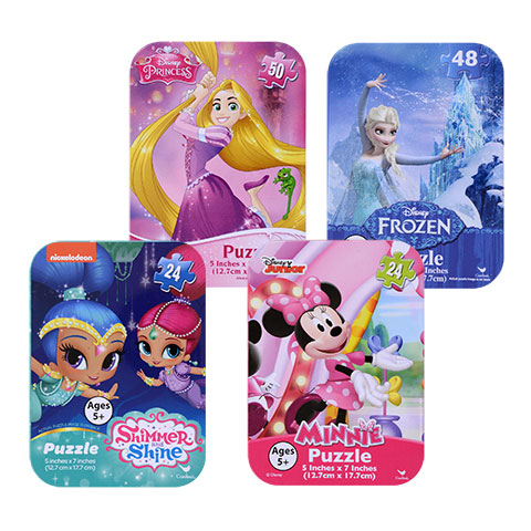 Blue Frozen and Pink Minnie Mouse puzzles you could buy for your next Walt Disney World vacation from Dollar Tree.