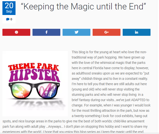 Disney Travel Blog. ThemeParkHipster first blog post screenshot.