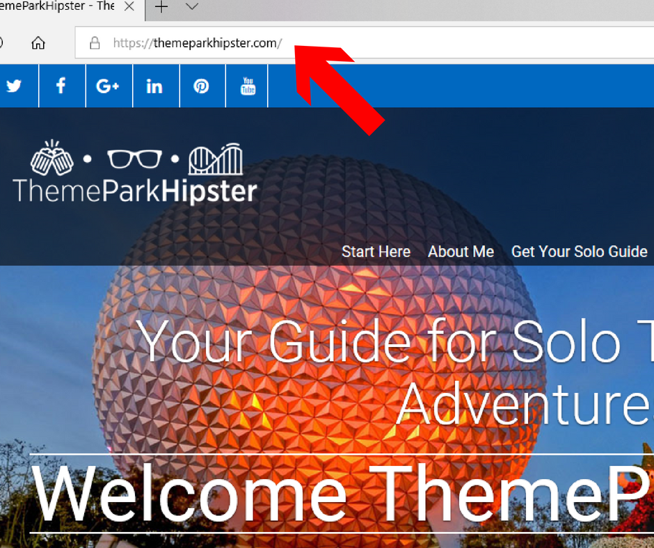 ThemeParkHipster Home Page Screenshot