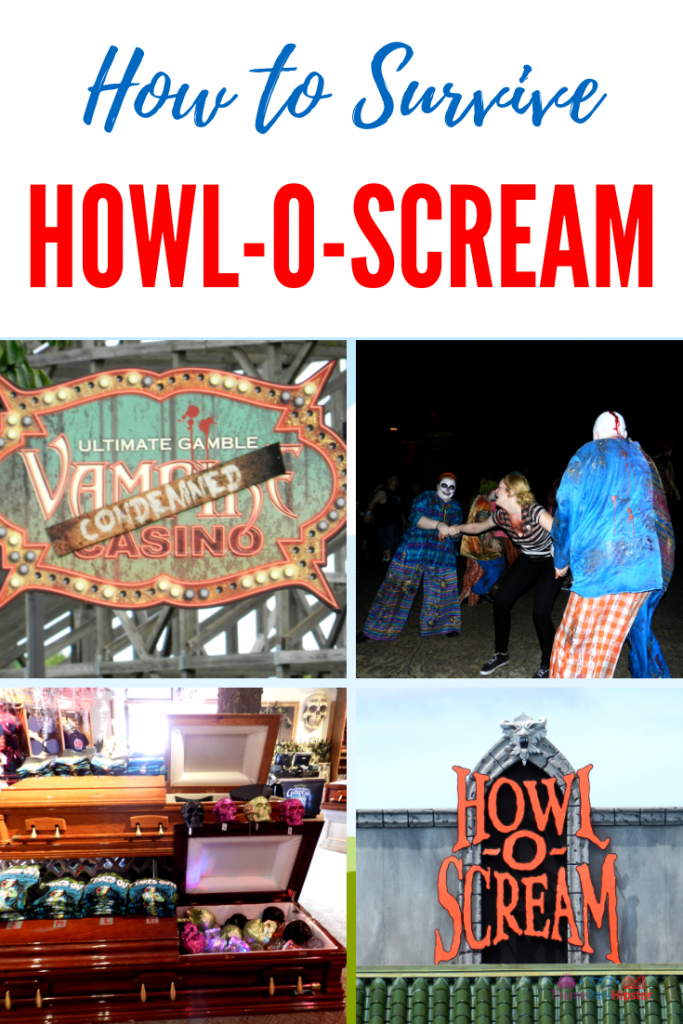 Howl-O-Scream Busch Gardens Tampa Bay. Zombie clown and open casket.