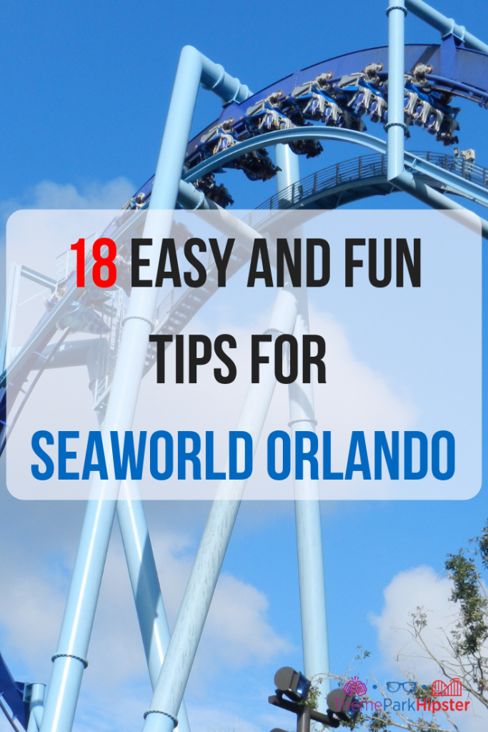 8 easy and fun tips for seaworld orlando. Large blue Manta roller coasters with passengers facing down.