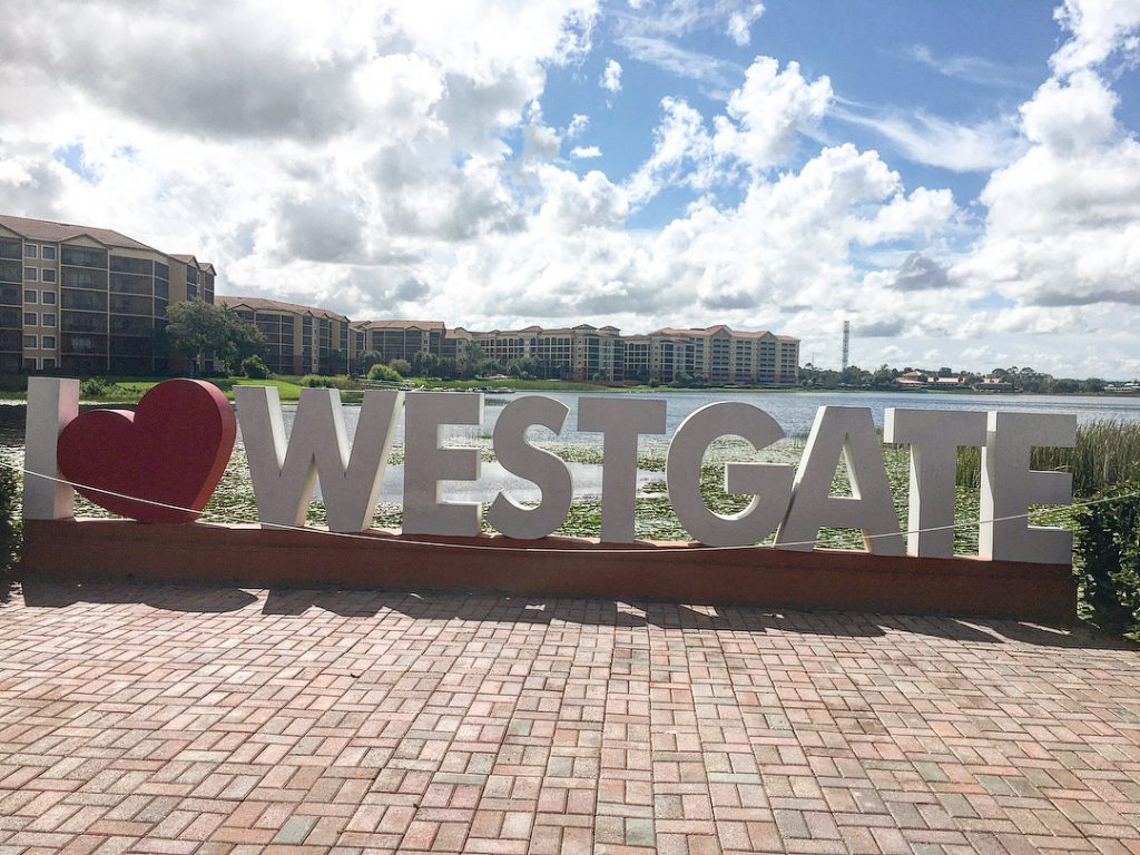 Westgate Lakes Resort & Spa Orlando.  The I heart Westgate sign.
