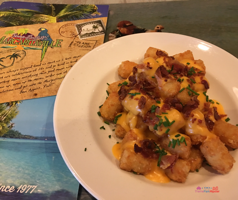 Margaritaville Cleveland Ohio. Loaded tots with bacon, chives, and creamy cheese.