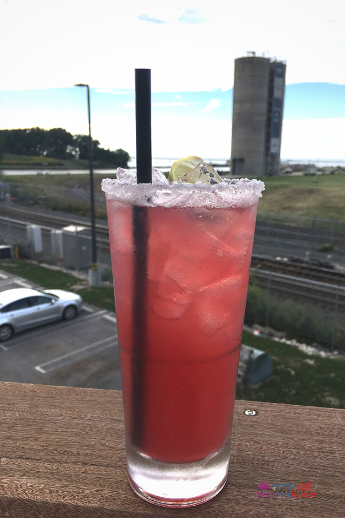 Margaritaville Cleveland Ohio. Blueberry margarita on rooftop in downtown Cleveland.