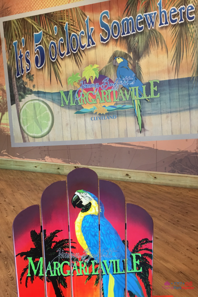 Margaritaville Cleveland Ohio. Parrot painted on lounge chair.