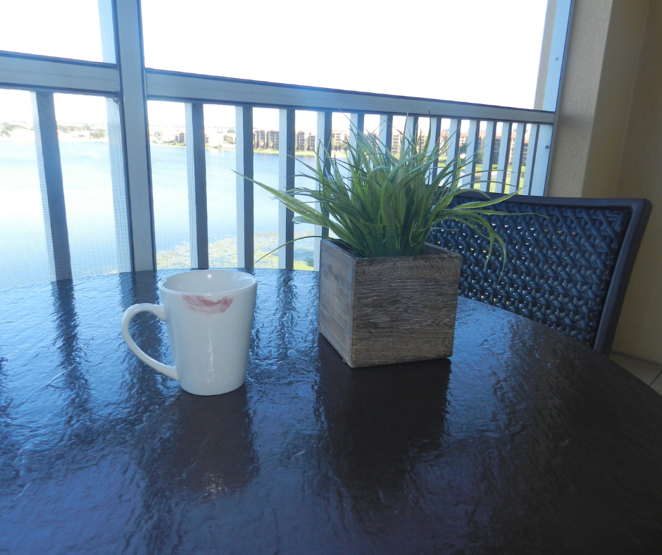 Westgate Lakes Resort Villa Orlando. Balcony with view of Big Sand Lake and nice cup of coffee.