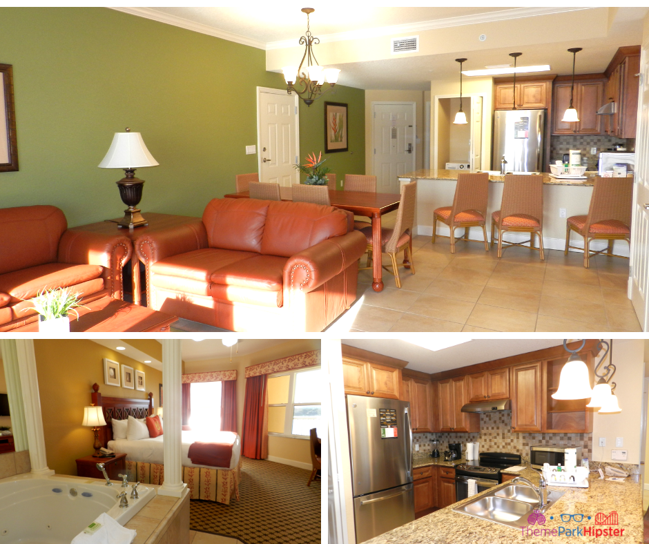 Westgate Lakes Resort Villa Orlando. Spacious living and dining room with kitchen.