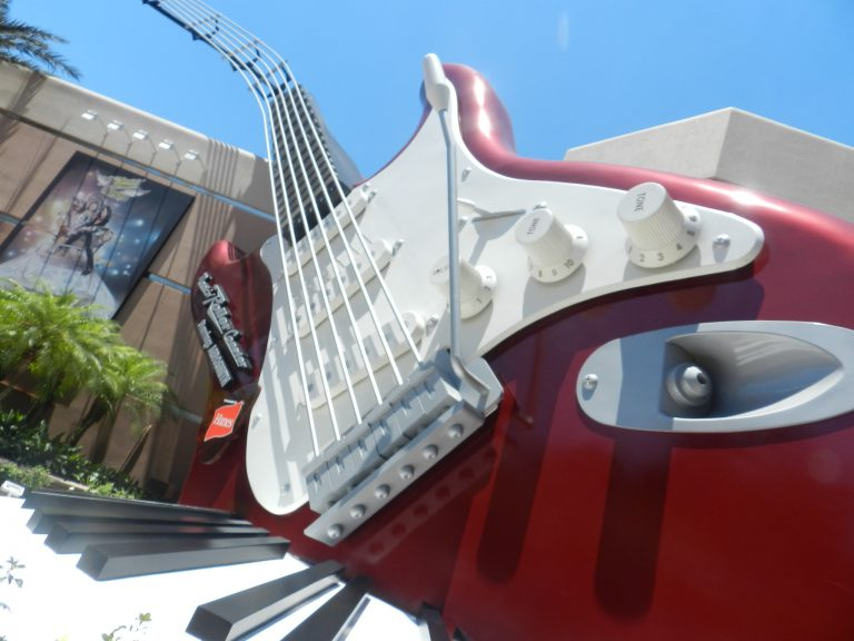 Hollywood Studios Aerosmith Roller Coaster with large red and white guitar.
