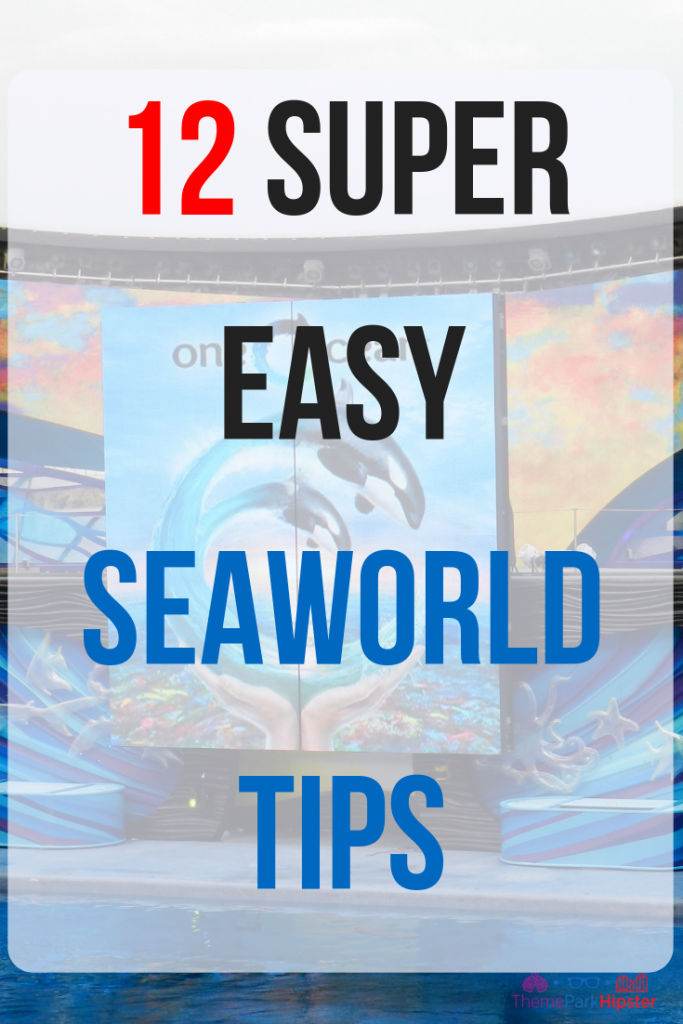 12 super easy Seaworld Orlando tips.  Shamu show in bright blue water.