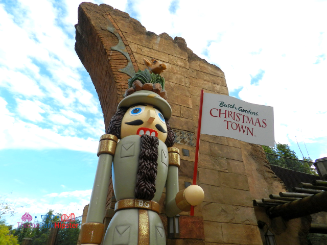Christmas Town Busch Gardens with wooden toy soldier