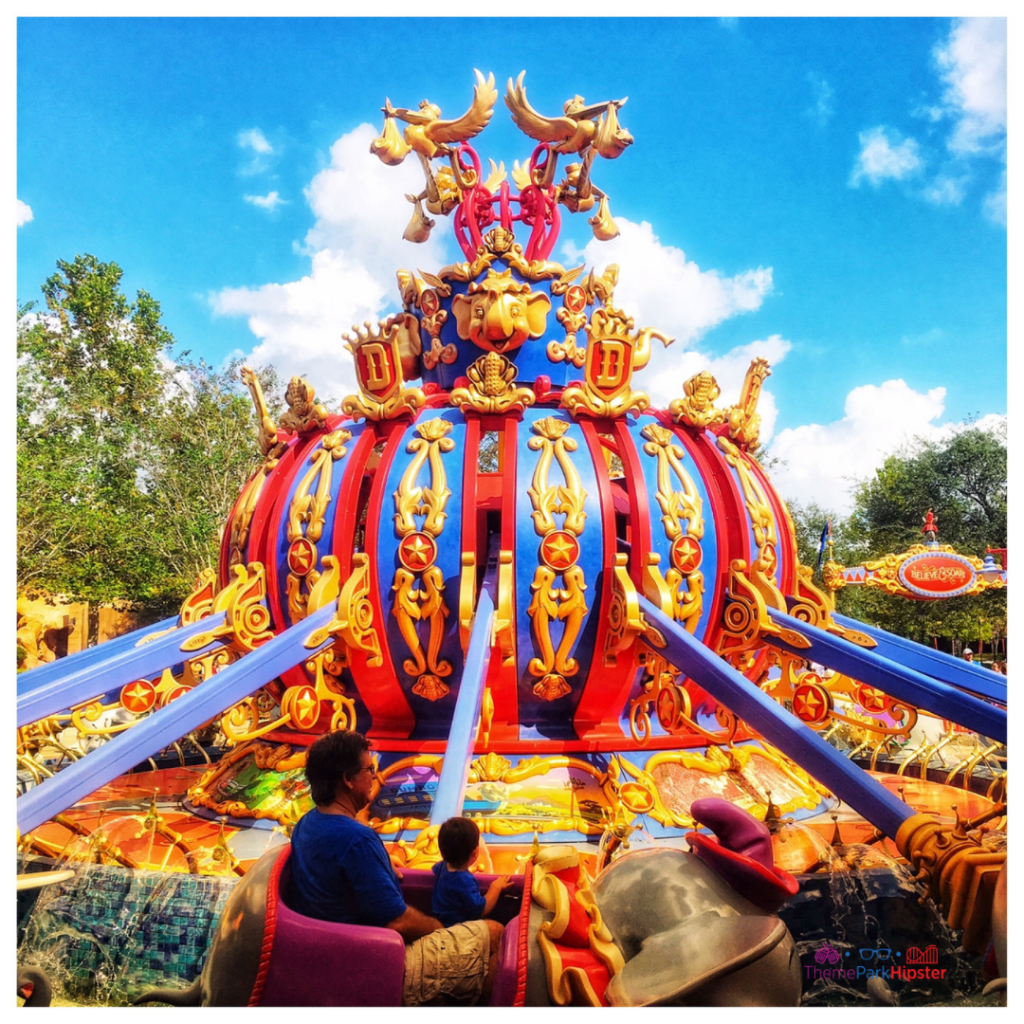 Colorful Fantasyland Dumbo Ride at the Magic Kingdom. Disney Secrets.