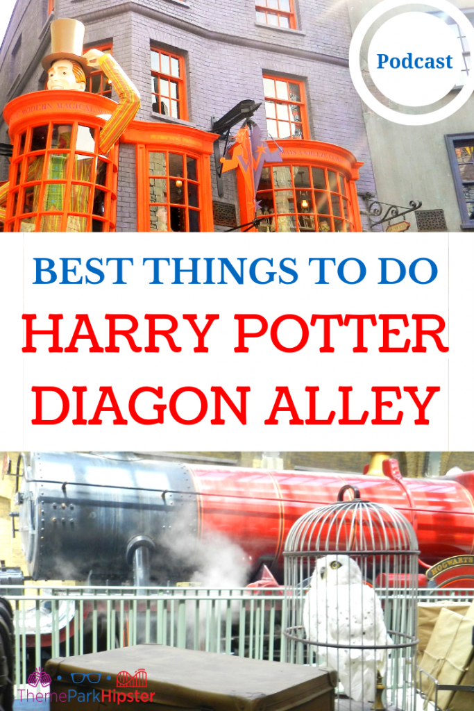 BEST THINGS TO DO IN DIAGON ALLEY UNIVERSAL HARRY POTTER WORLD with white owl and red Hogwarts train.