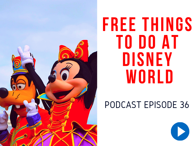 Free Things to Do at Disney World with Minnie Mouse and Goofy waving. #disneytips #disneybudget