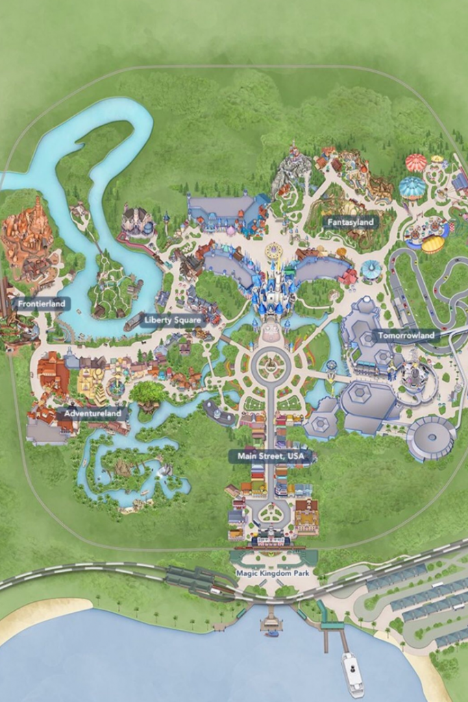 Magic Kingdom Map with Cinderella Castle in the center. #Disneytips #DisneyPlanning #DisneyItinerary