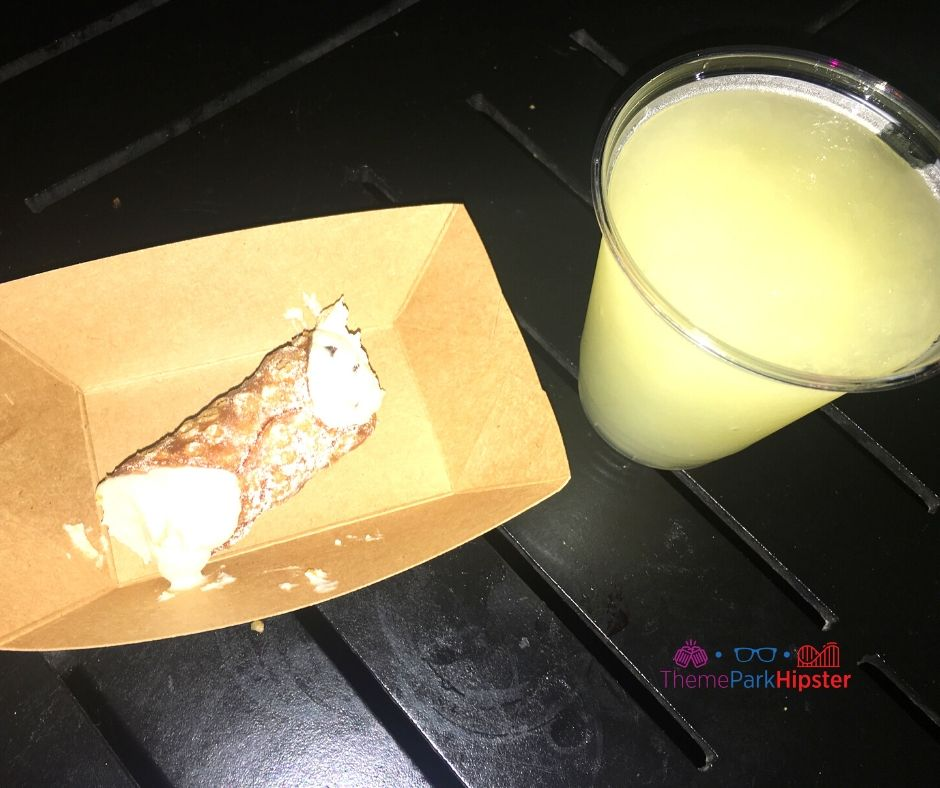 Cannoli and Italian Margarita  with Limoncello and Tequila at Epcot