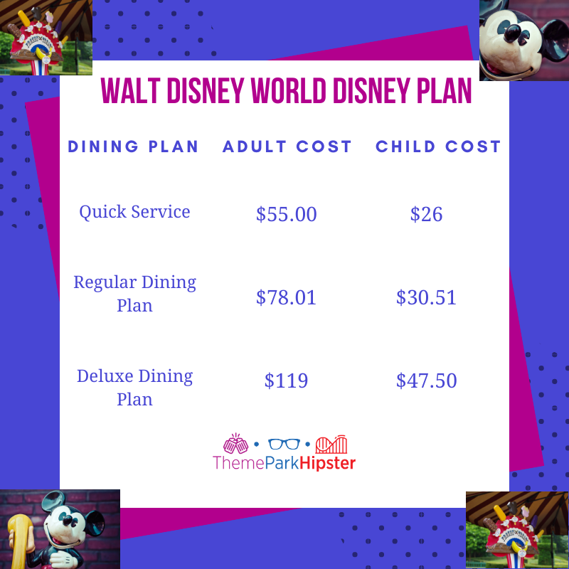 Disney Dining plan adult cost child Cost