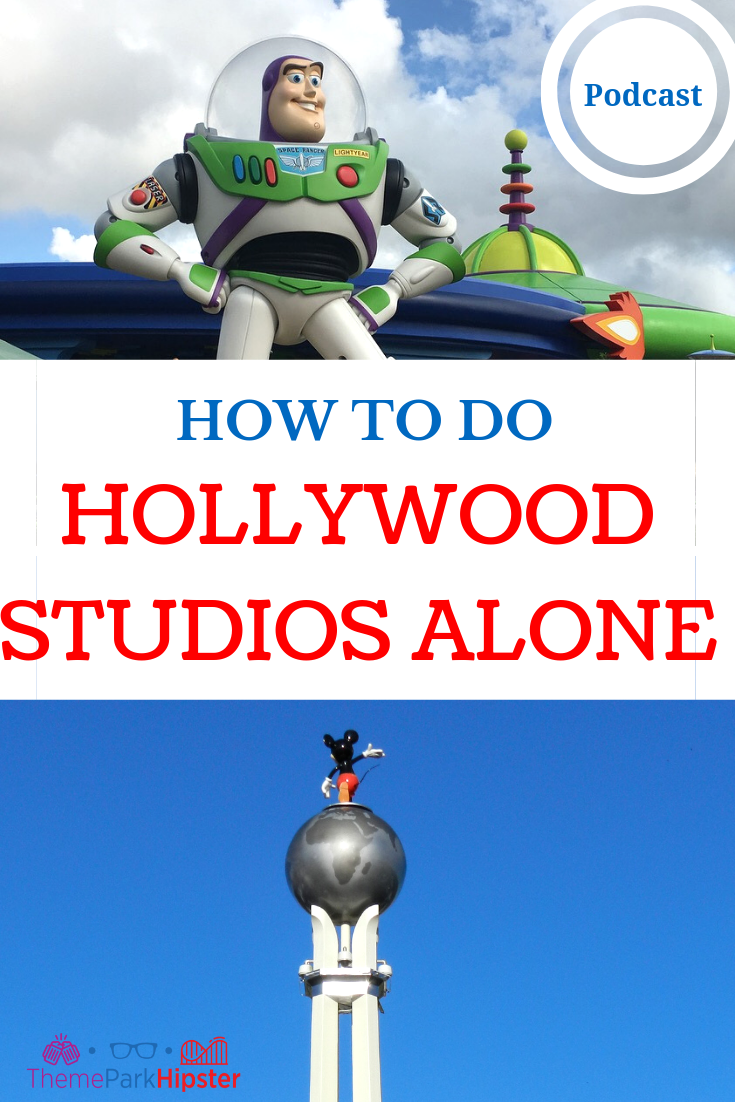 Disney solo trip Hollywood Studios Alone with Mickey Mouse on top of globe.