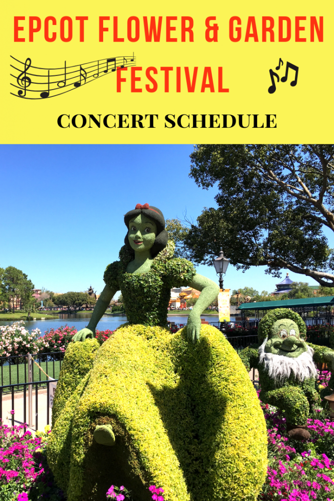 Epcot Flower and Garden Festival Concerts with topiary display of Snow White and the Seven Dwarfs #epcot