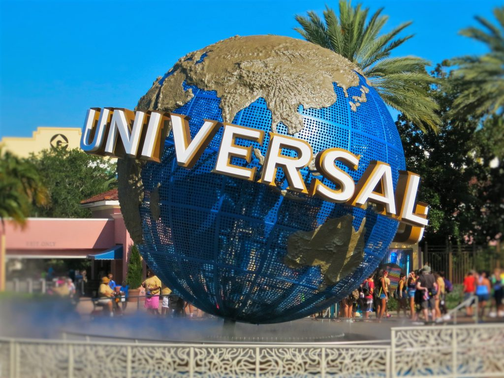 Free Wi-Fi at Universal Orlando with famous earth globe in front of park entrance.