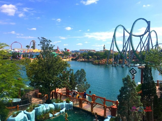 Islands of Adventure Tips Bluto Barge River Rapids Ride with Hulk Roller Coasters in the Background
