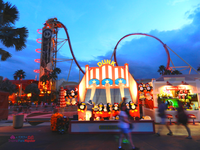 Universal Studios Hollywood Rip Rock It red roller coaster during Halloween Horror Nights