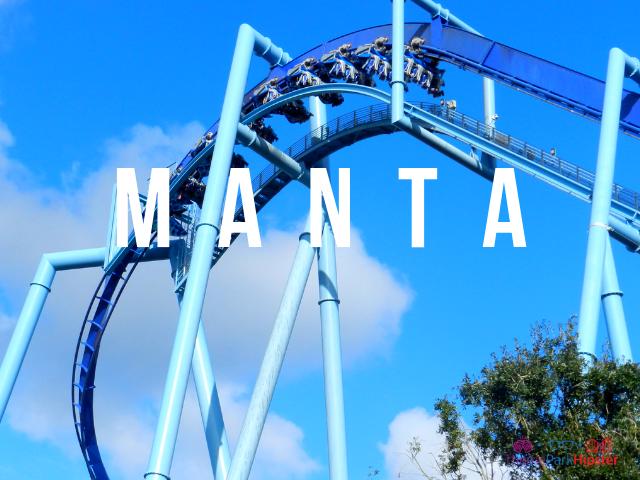 Manta SeaWorld Orlando blue roller coaster.