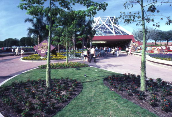 View looking toward The Land Pavilion in EPCOT Center at the Walt Disney World Resort in Orlando, Florida. 1982