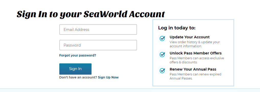 SeaWorld Annual Pass Member Login